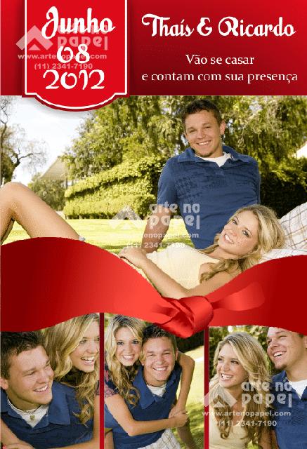 save the date laço vermelho arte no papel lembrancinhas personalizadas com foto