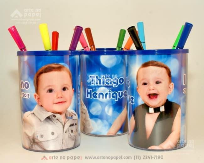 porta lápis arte no papel lembrancinhas personalizadas com foto